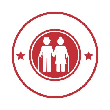 circular border with pictogram elderly couple with walking stick