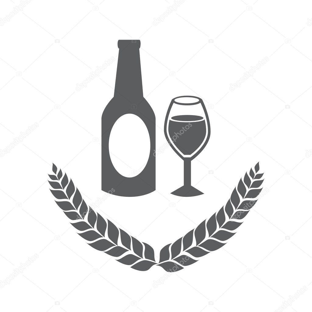 Grayscale emblem of bottle and glass beer vector illustration