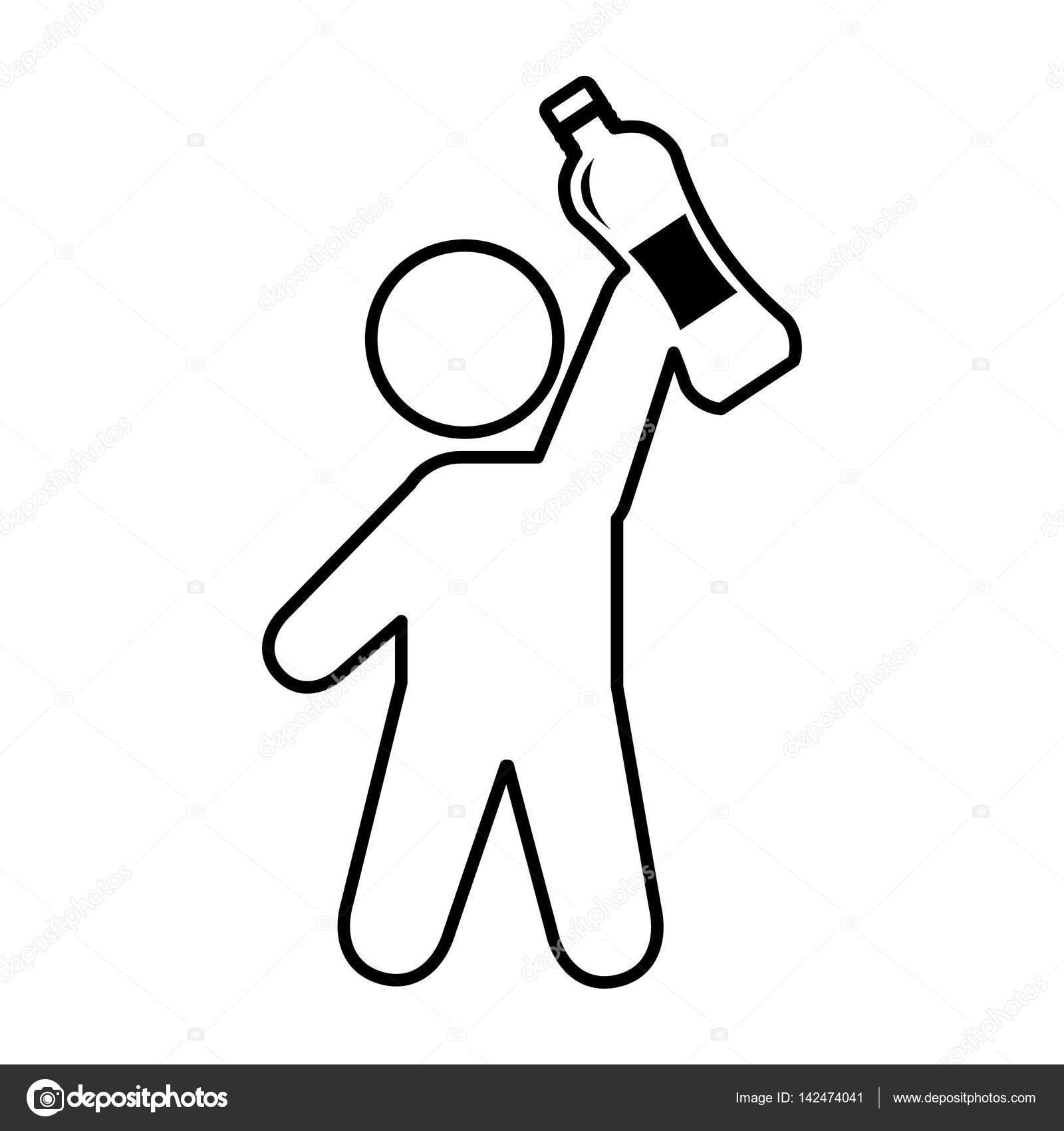 Su şişesi Ile Insan Figürü Stok Vektör Yupiramos 142474041