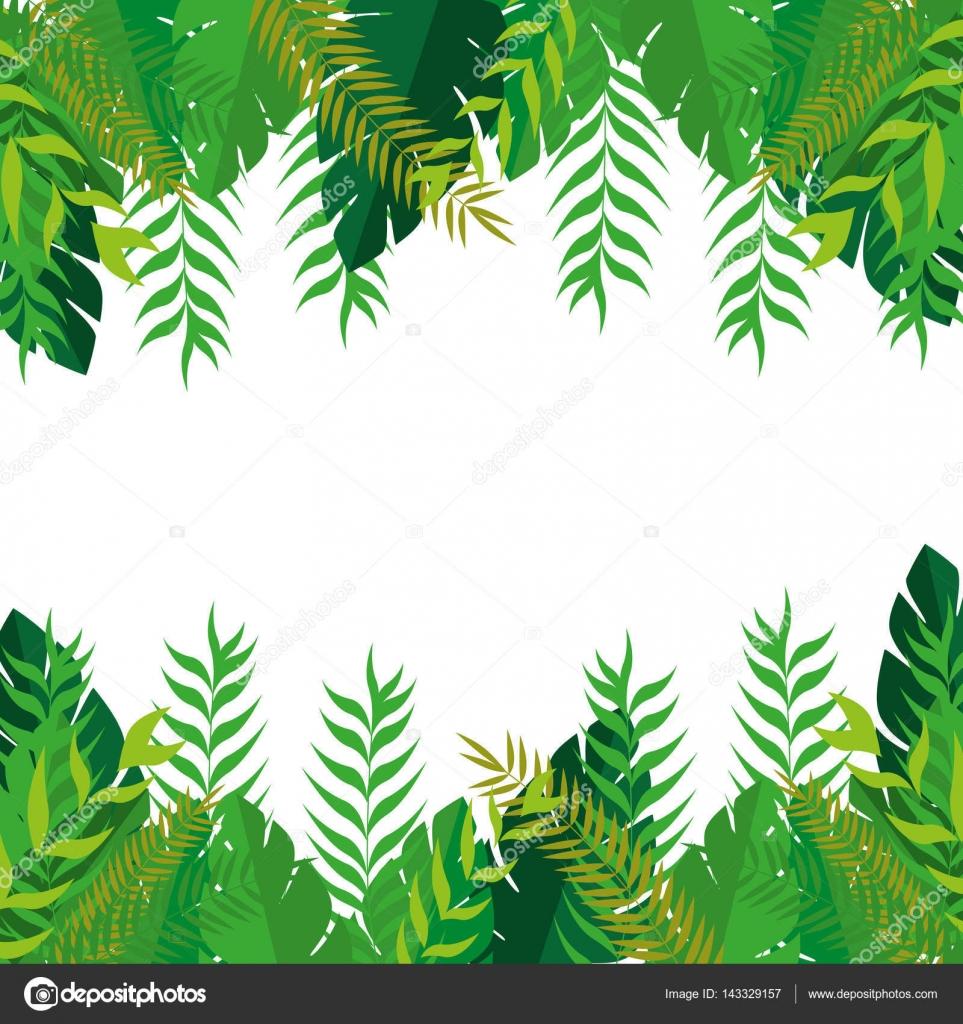frame with green leaves nature design stock vector yupiramos