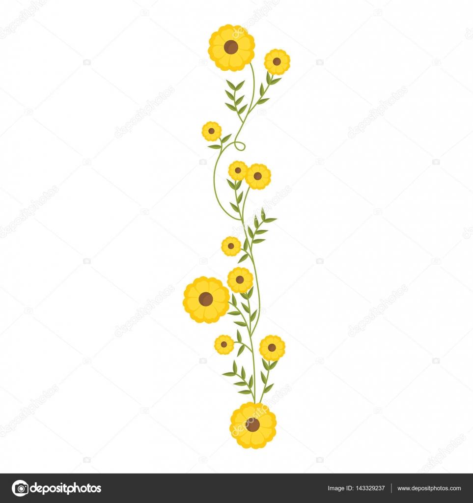 Plante Grimpante Avec Dessin Floral Fleurs Jaunes Image