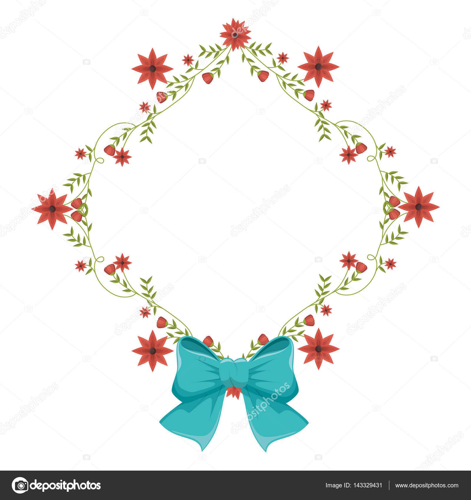 estructura de diamante con enredaderas y flores rojas y lazo azul ...