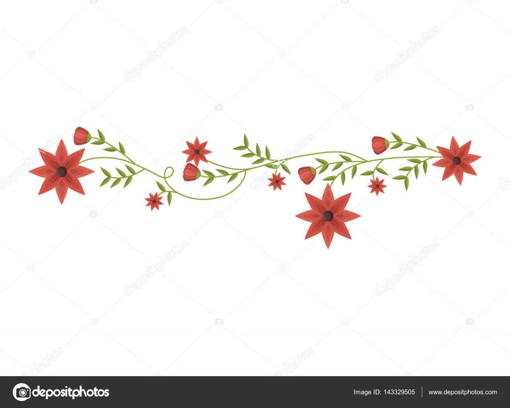 Plante Grimpante Avec Dessin Floral Fleurs Rouges Image