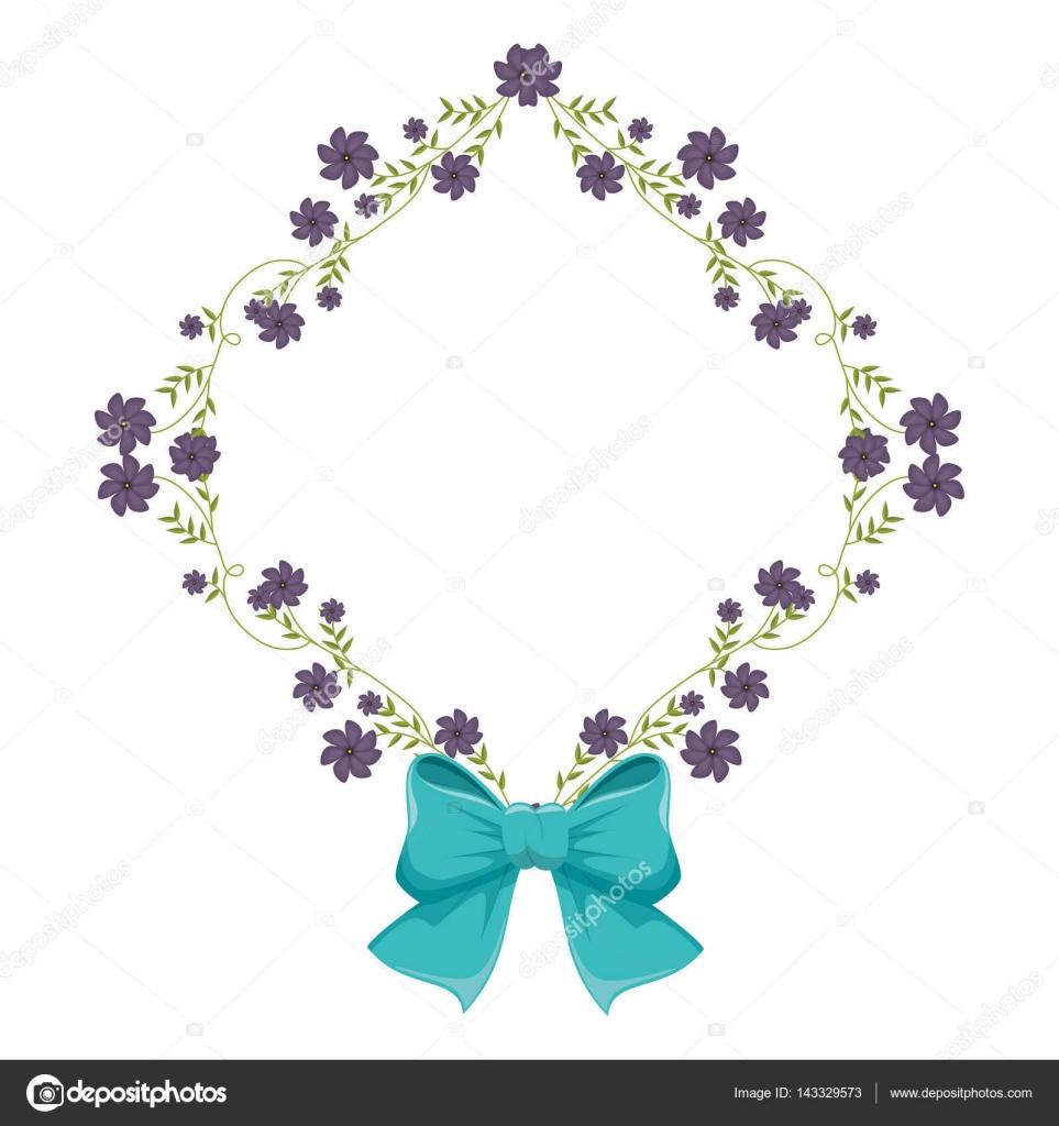 estructura de diamante con enredaderas y flores violetas y cinta ...