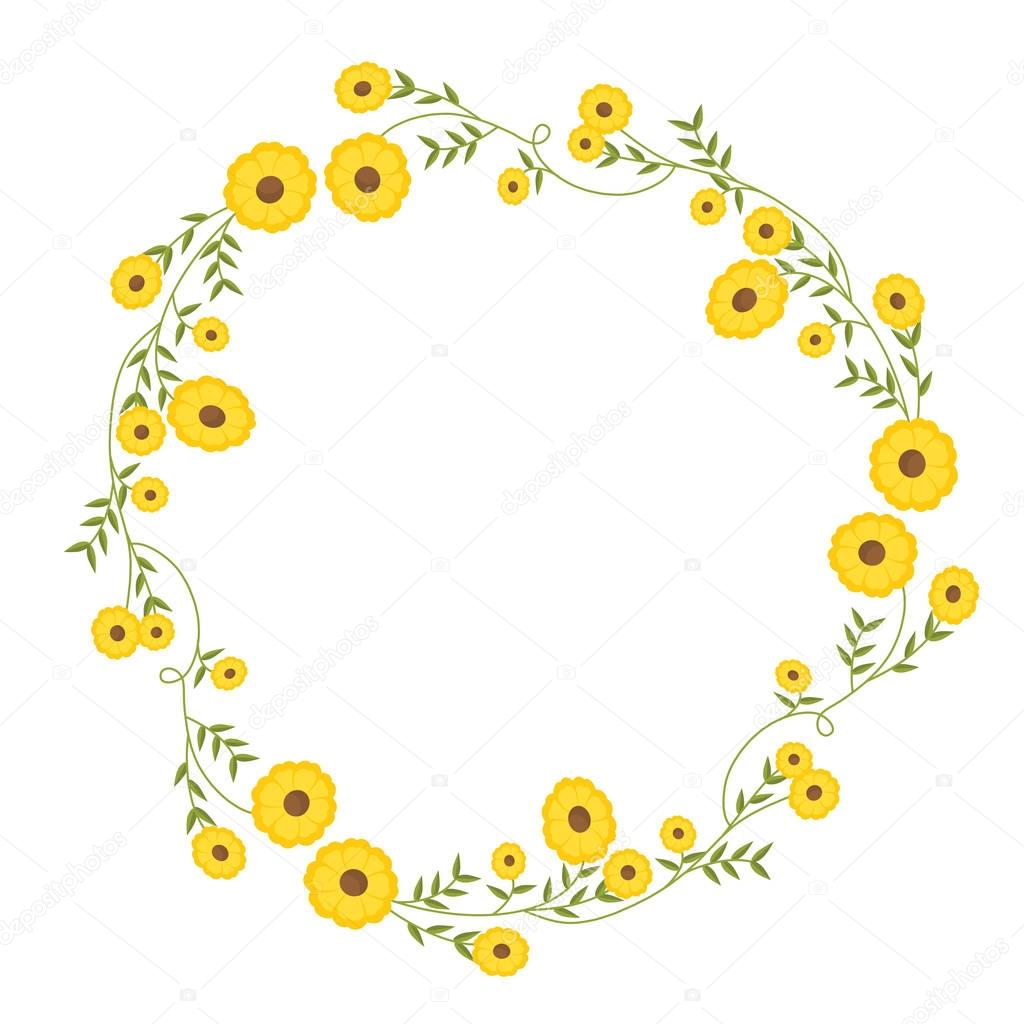 floral circular wreath decoration with yellow flowers