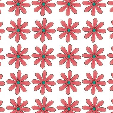 red daisy flowers pattern floral design