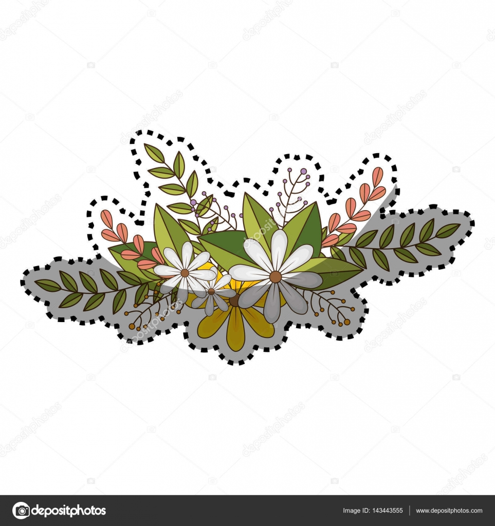 Sticker of flowers crown with floral design and leaves stock sticker of flowers crown with floral design and leaves stock vector izmirmasajfo