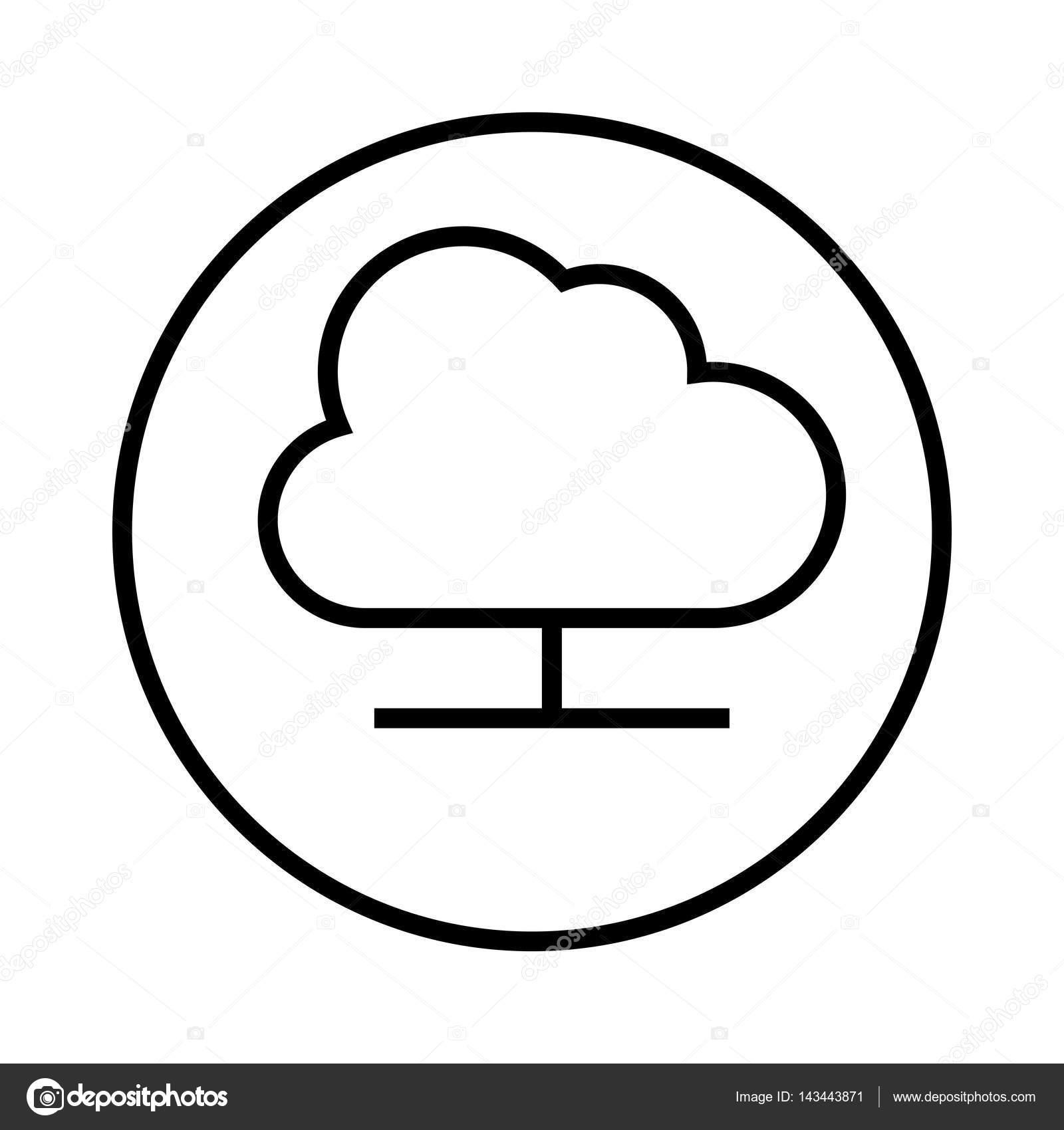contorno de monocromo con marco circular con icono de servicio de ...