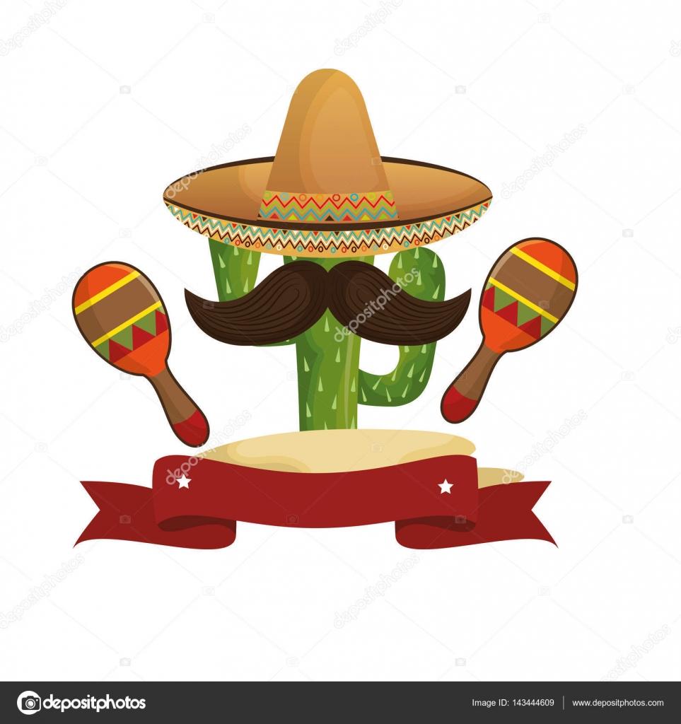 Dibujo animados de cactus con sombrero mexicano y un bigote con la  ilustración de vector de maraca - vector  dibujo mexicano — Vector de  yupiramos — Vector ... da69979acab