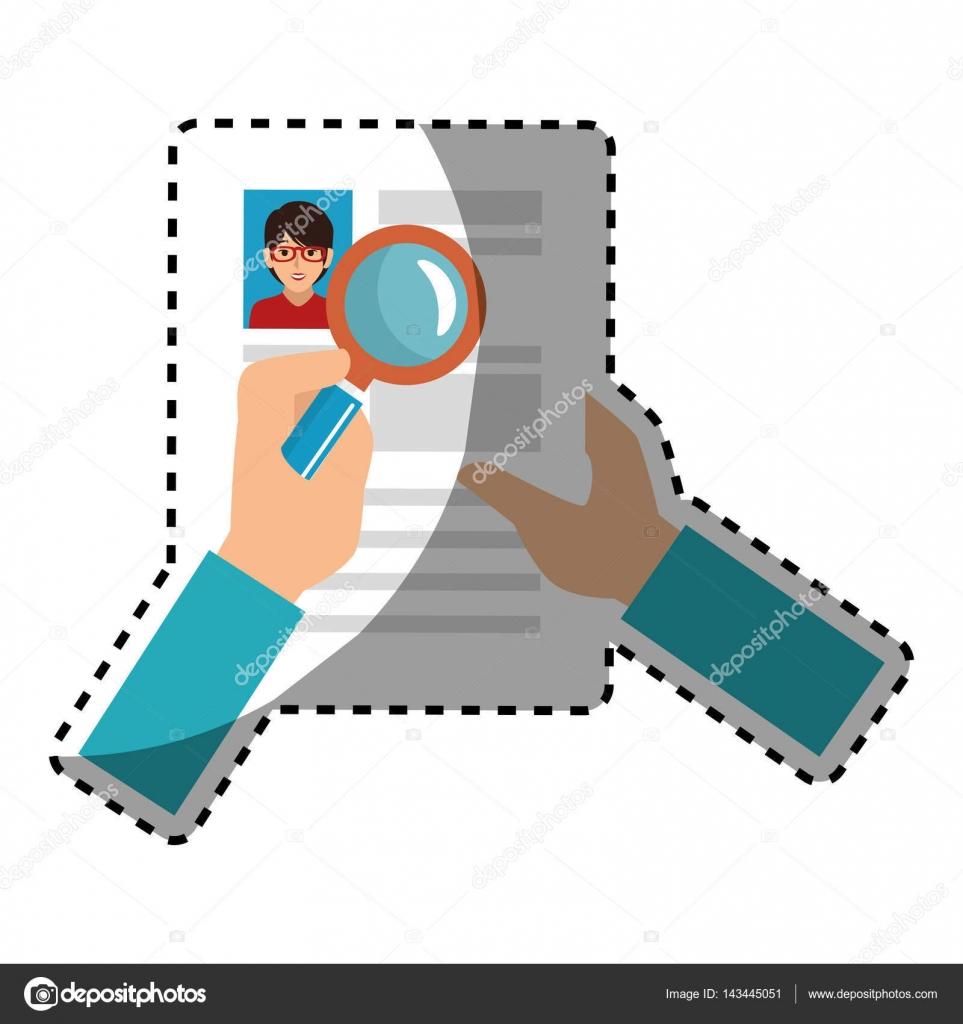 búsqueda de la etiqueta engomada con lupa en información de archivo ...