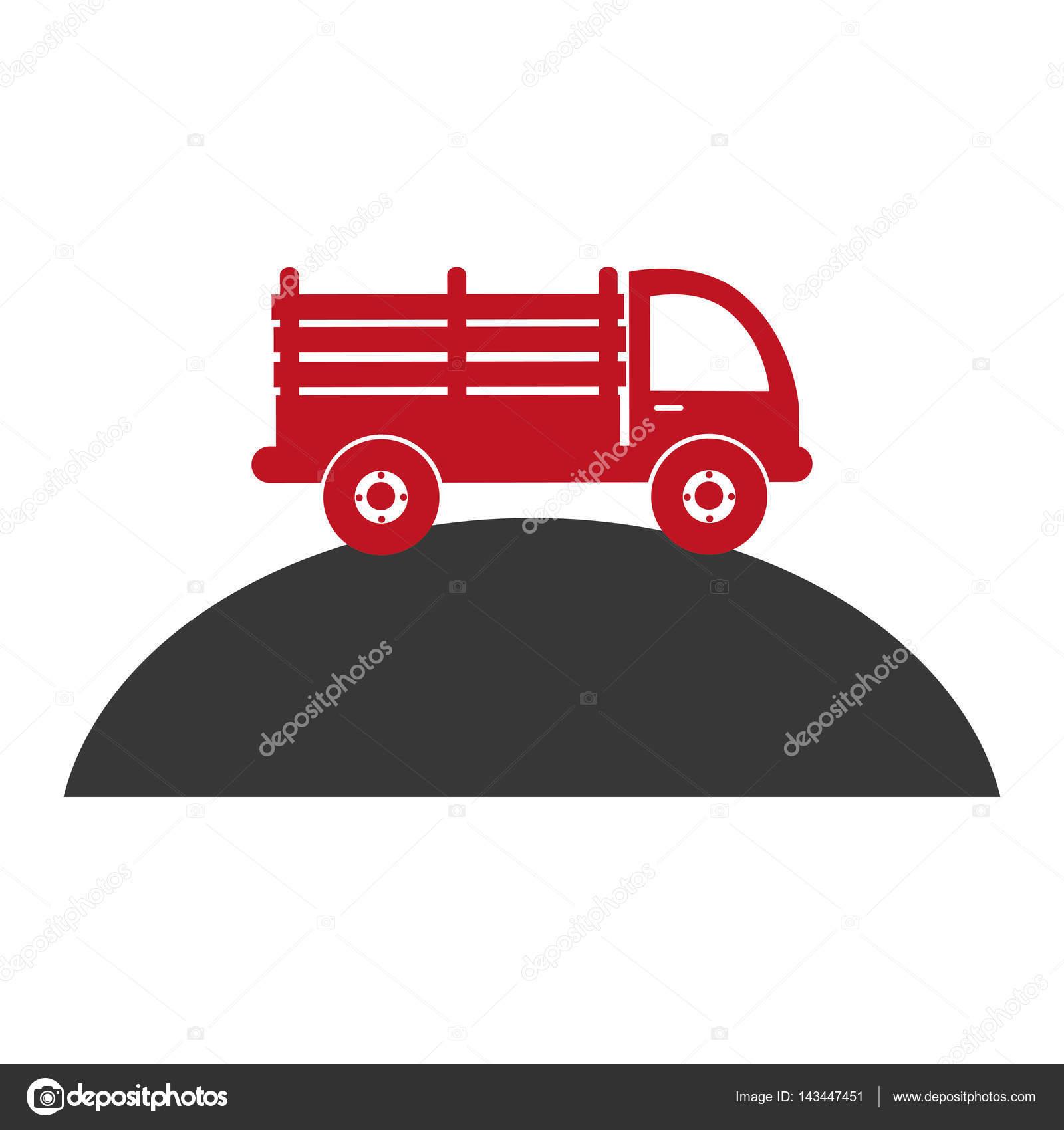 山の上の賭けトラックで白黒シルエット ストックベクター