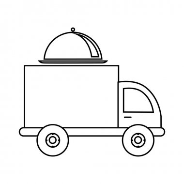 monochrome contour with food truck