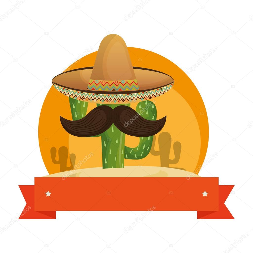 colorful background with animated sketch cactus with mexican hat and ribbon