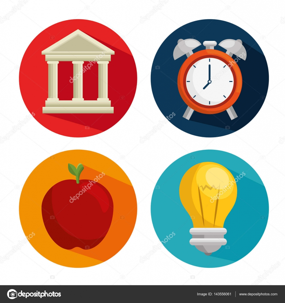 Bildung einfach flach Symbole lernen — Stockvektor © yupiramos ...