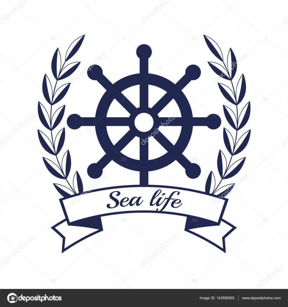 nautische Rahmen mit Schiff timon — Stockvektor © yupiramos #143556565
