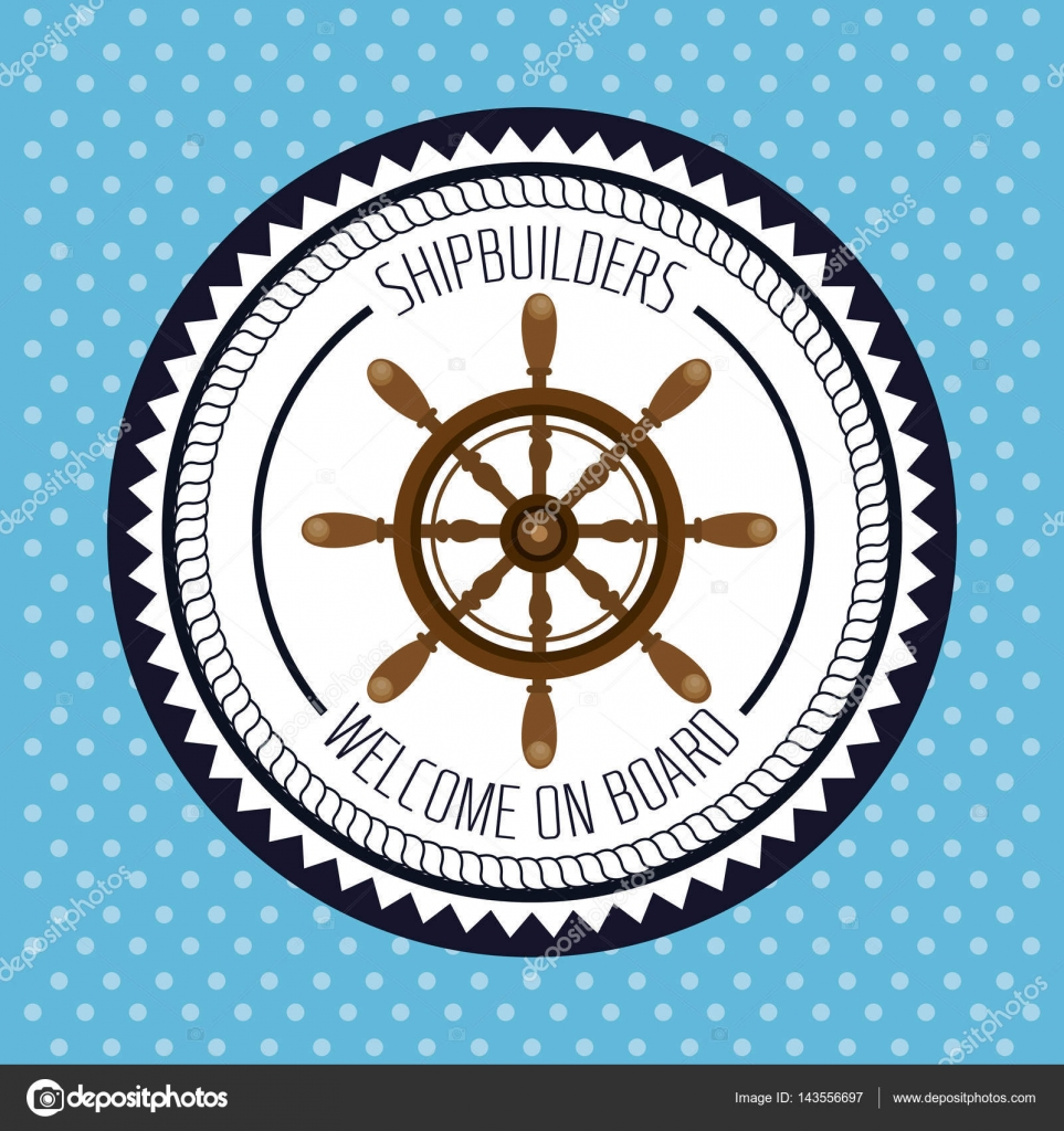 nautische Rahmen mit Schiff timon — Stockvektor © yupiramos #143556697
