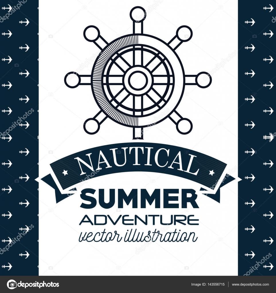 nautische Rahmen mit Schiff timon — Stockvektor © yupiramos #143556715
