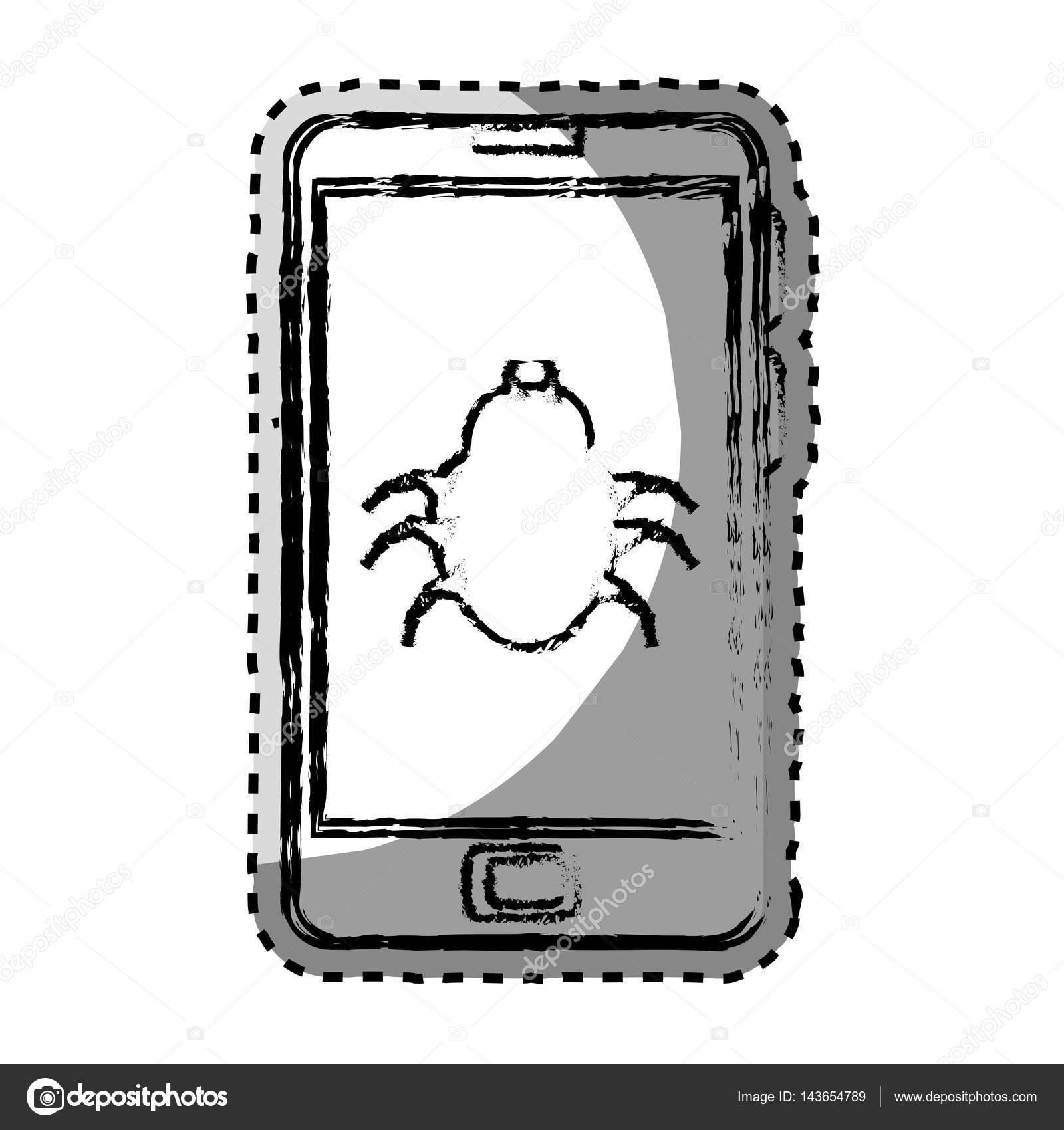 monocromo de etiqueta borrosa con teléfono celular con escarabajo de ...