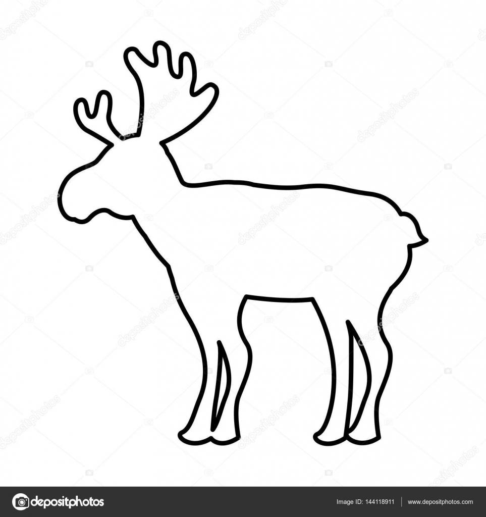 Rentier Weihnachten Silhouette isoliert Symbol — Stockvektor ...