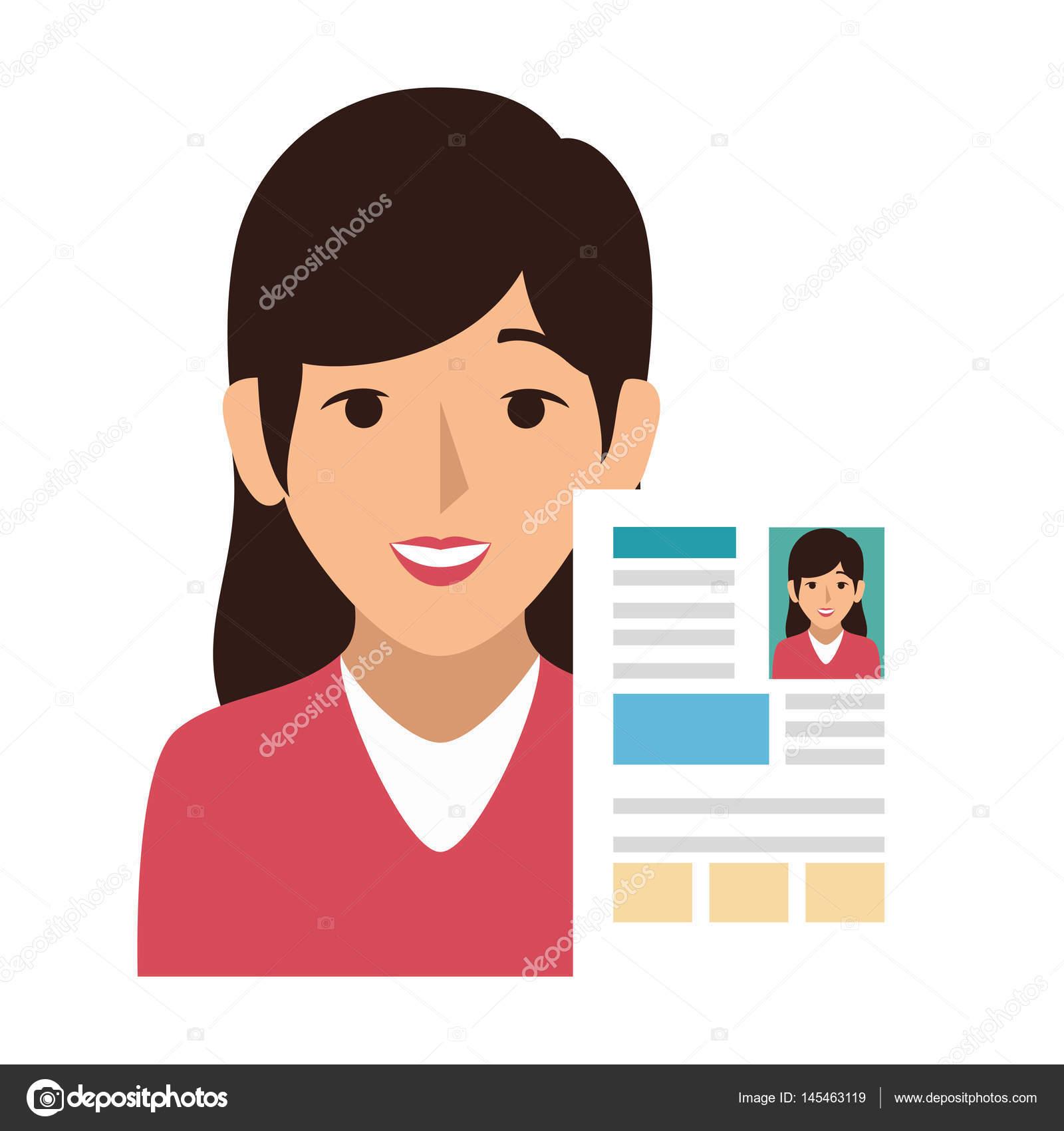 avatar de la mujer con el icono del documento currículum vitae ...