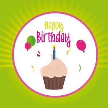 Birthday design over green background vector illustration