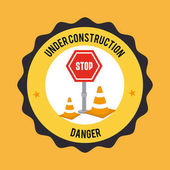 építőipari tervezés alatt sárga háttér vektor illusztráció