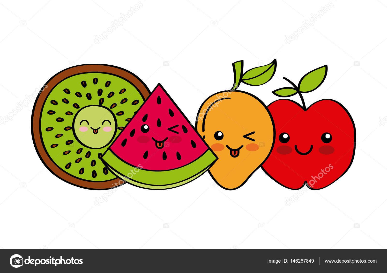 Desenho De Frutas Kawaii Vetor De Stock Yupiramos 146267849