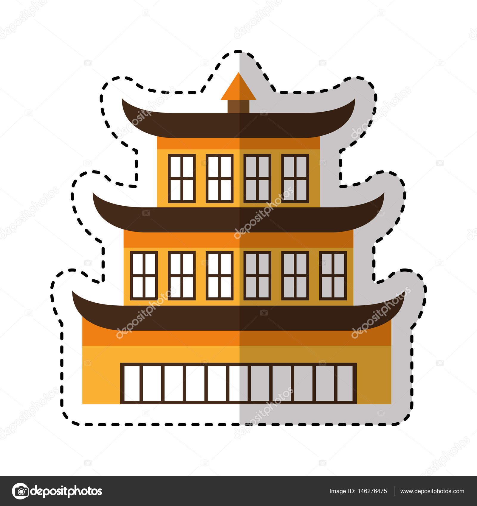 asian building castle icon — stock vector © yupiramos #146276475