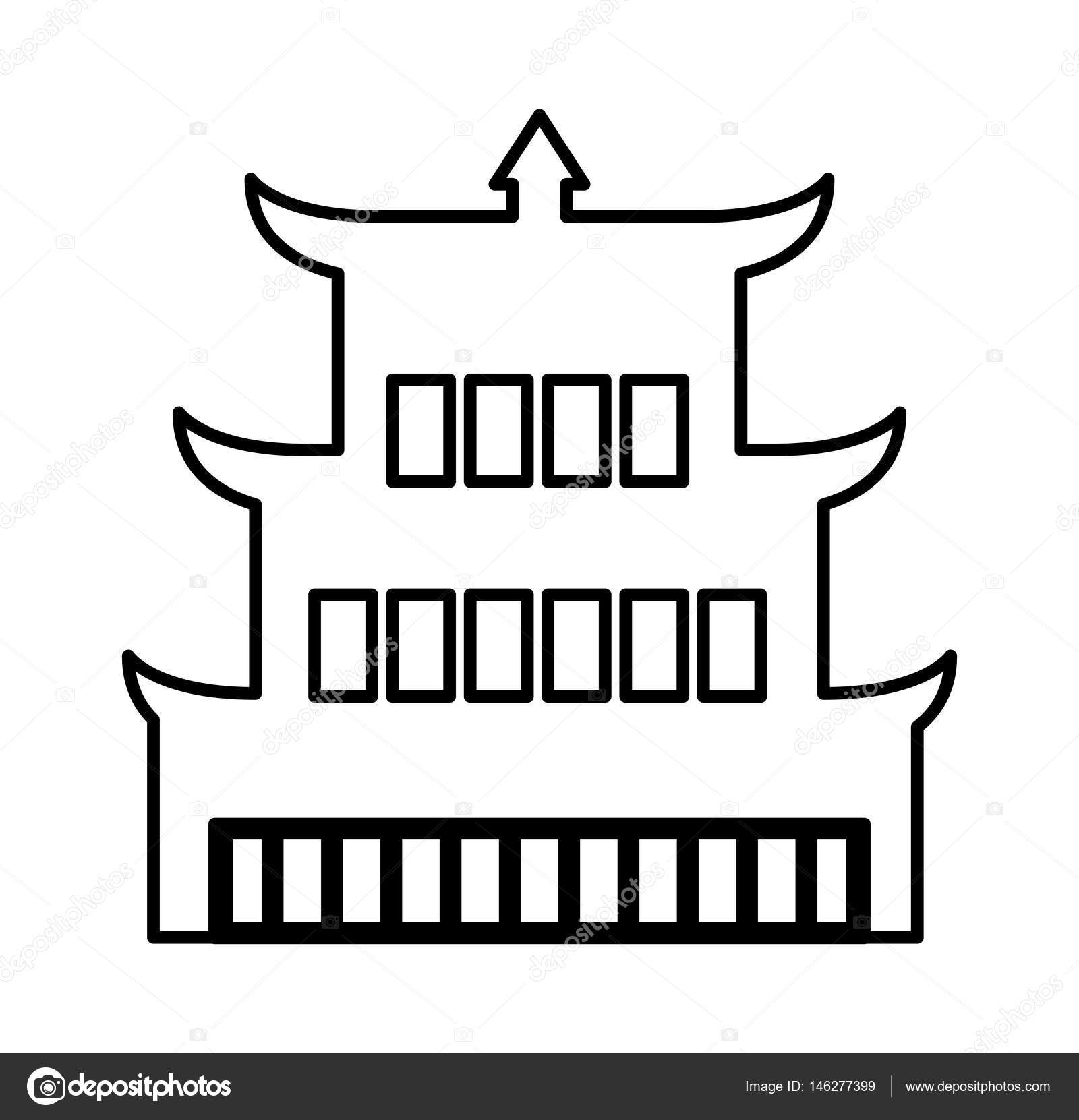 asian building castle icon — stock vector © yupiramos #146277399