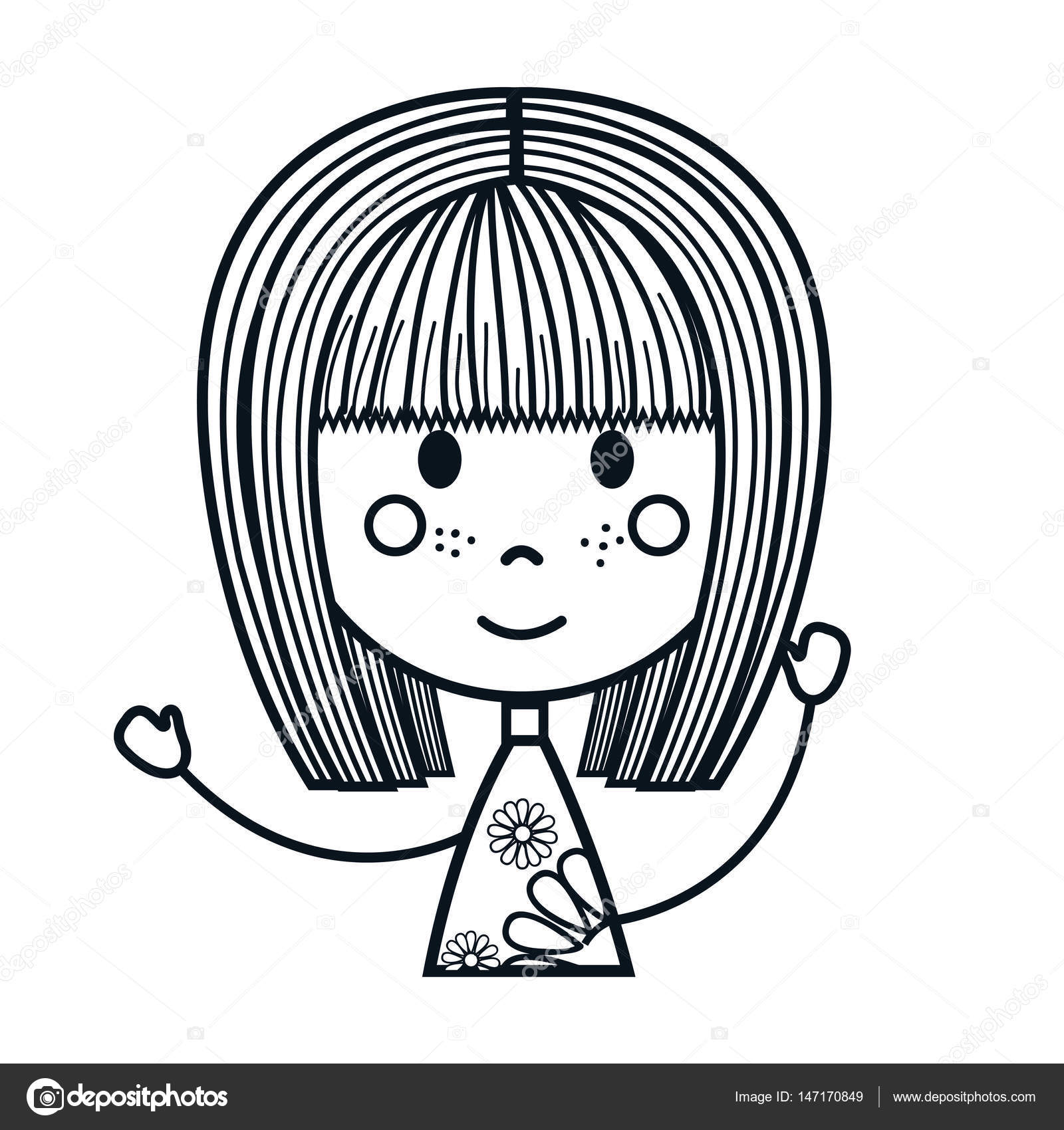 Mignon Petit Personnage De Dessin Fille Image Vectorielle