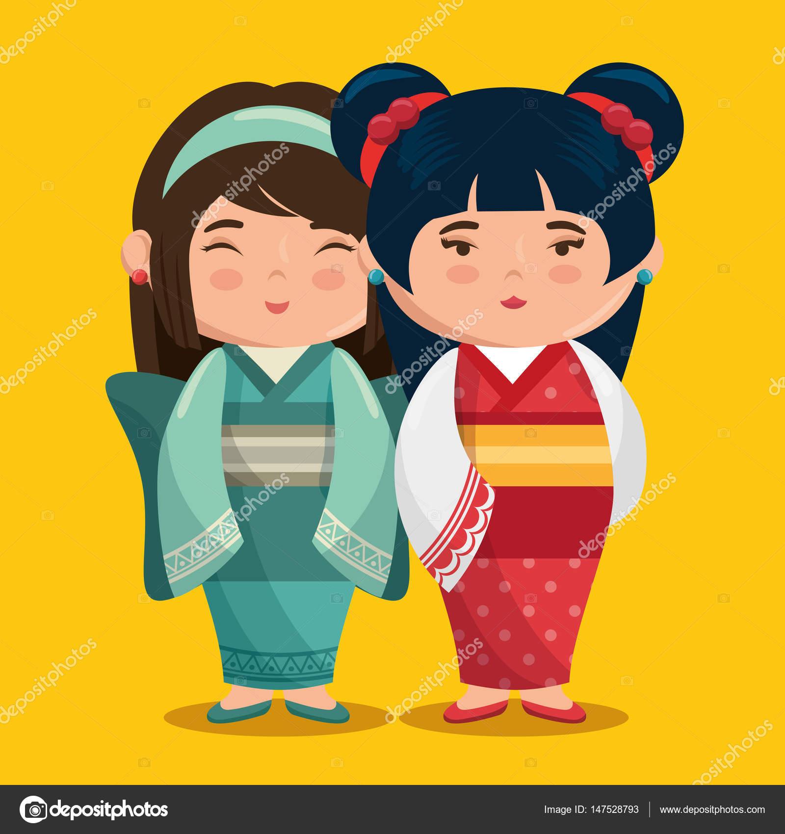 Dibujos Los Reyes Magos Kawaii Grupo De Lindas Chicas Japonesas