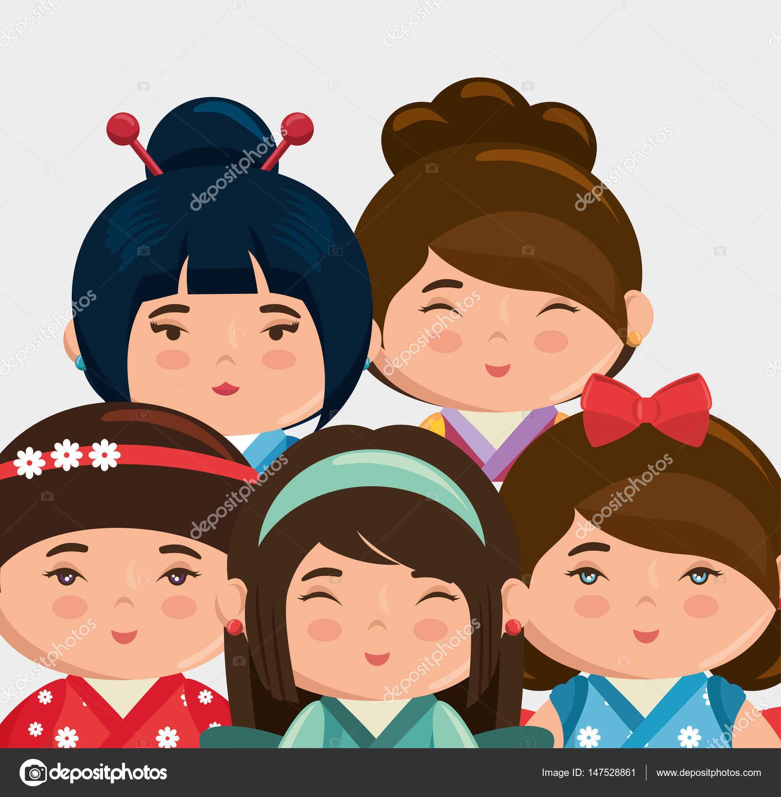 かわいい日本人の女の子がかわいいスタイルをグループ化します