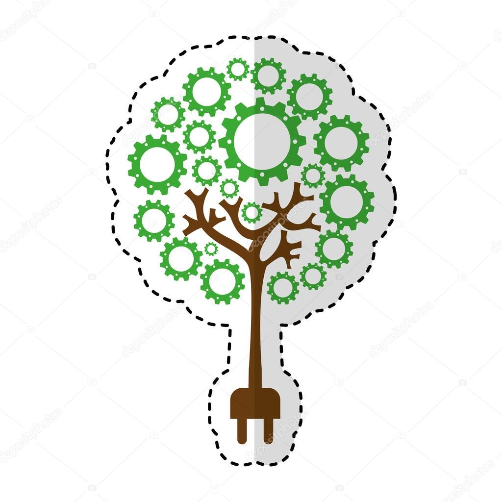 tree plant with gears isolated icon