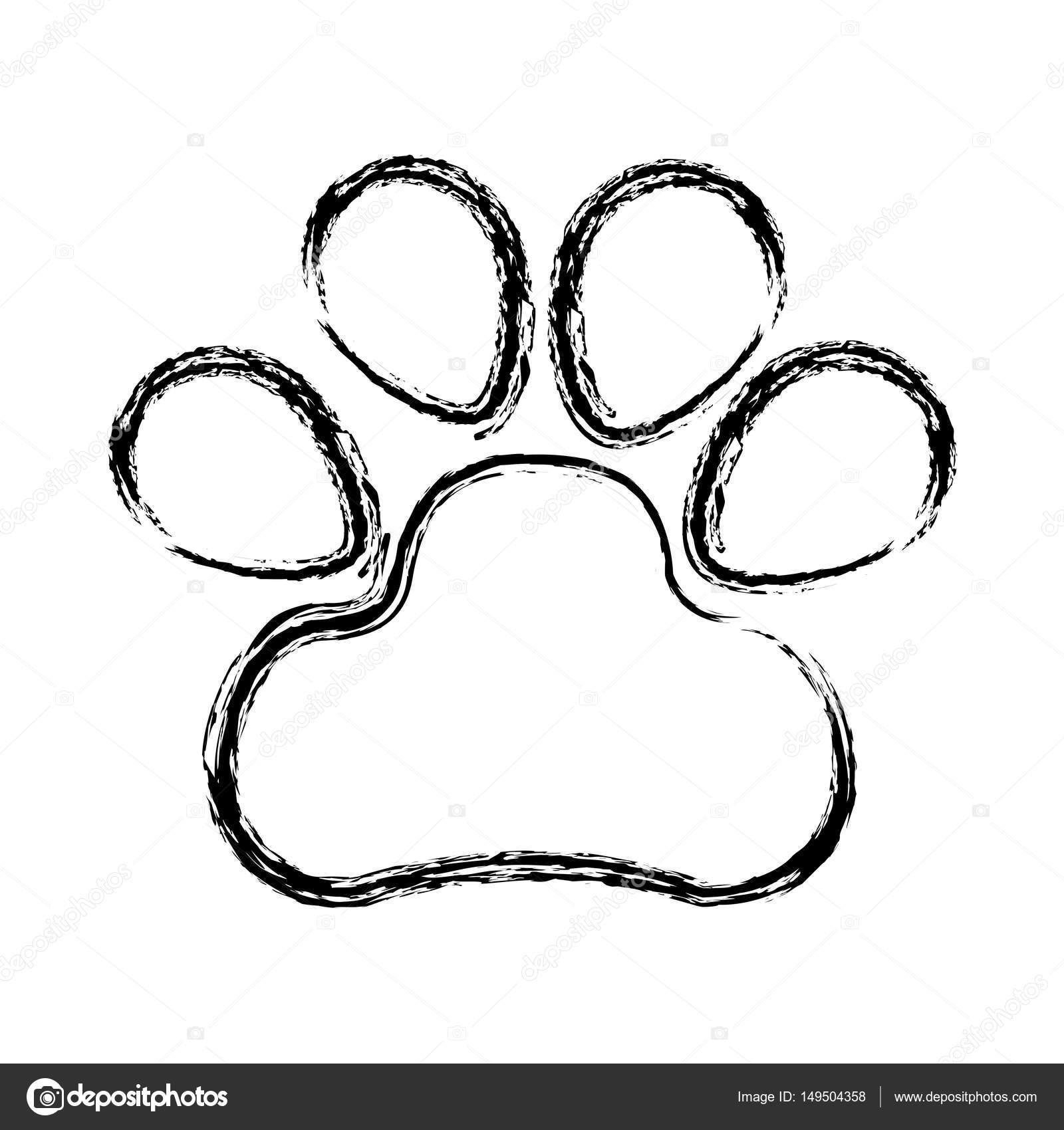 Icono Aislado De Huella De Perro Archivo Imágenes Vectoriales