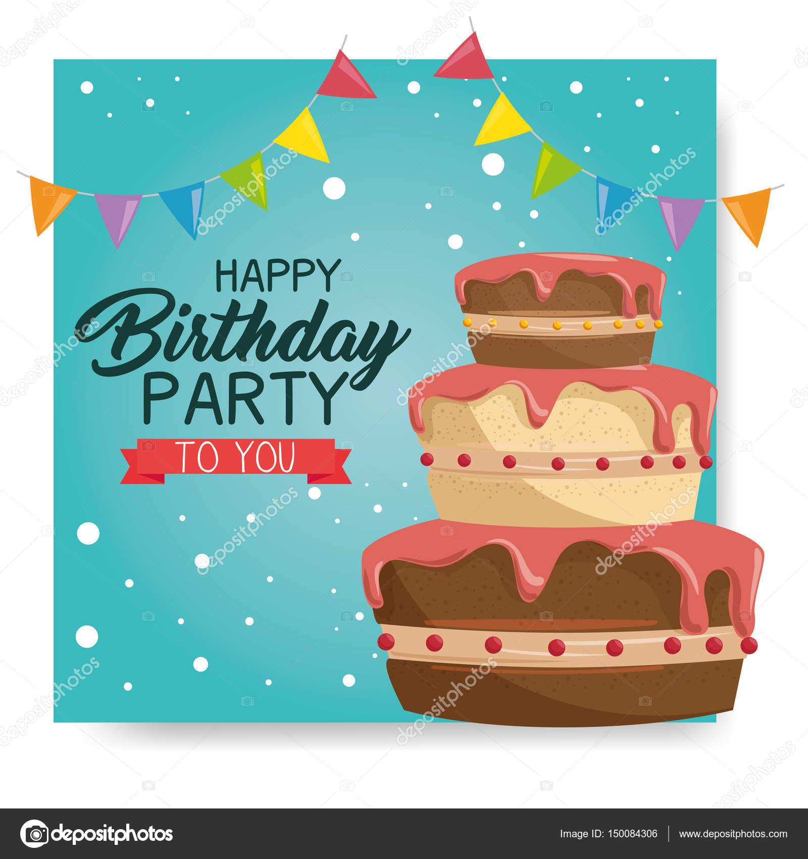 Happy Birthday Cake Card Stock Vector Yupiramos 150084306