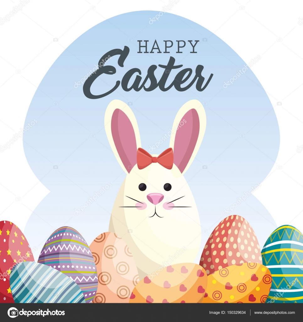 Niedlichen Kaninchen Frohe Ostern Stockvektor Yupiramos 150329634