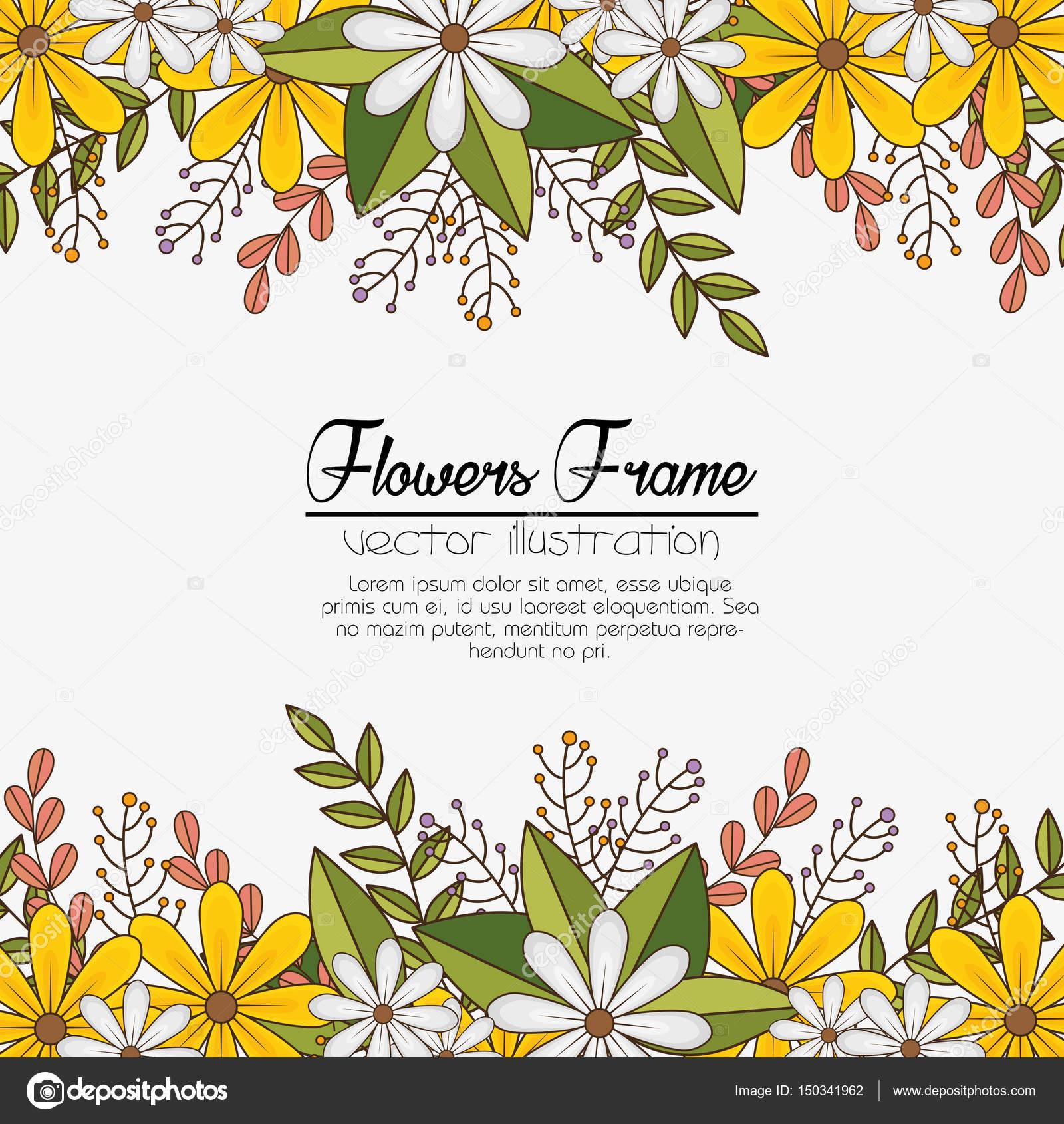 Fondo de marco de flores Linda — Vector de stock © yupiramos #150341962