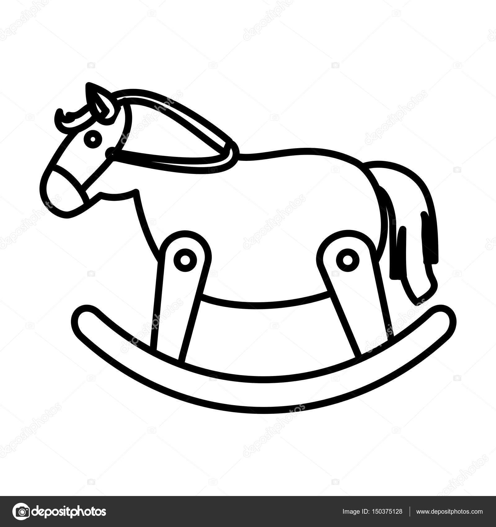 Cavallo Di Legno Giocattolo.Giocattolo Sveglio Del Cavallo Di Legno Vettoriali Stock