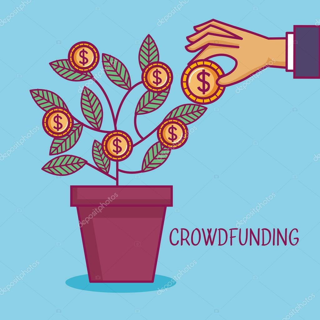 crowdfunding hand pot tree coins dollar business