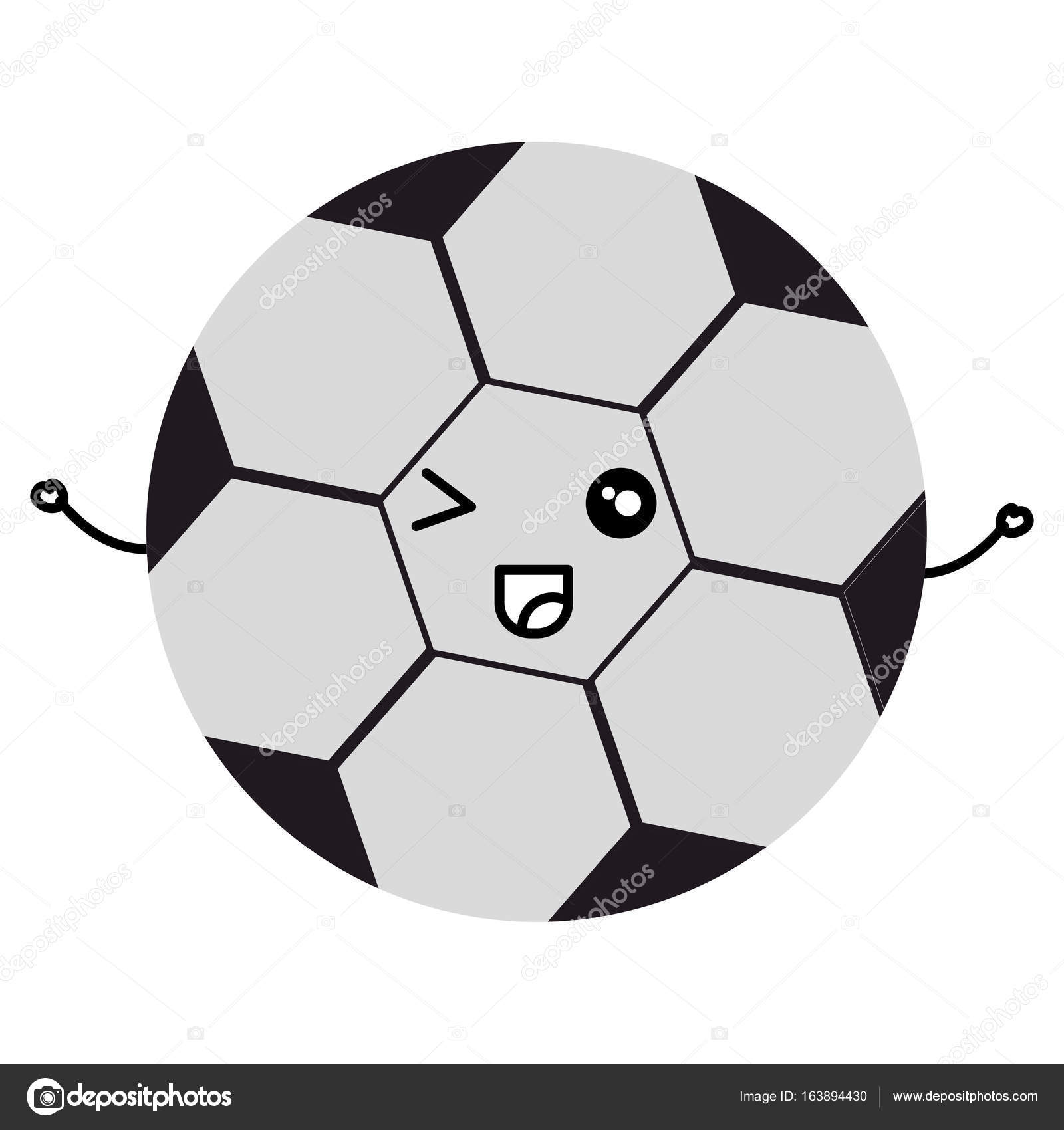 Caractère De Kawaii Ballon Football Image Vectorielle