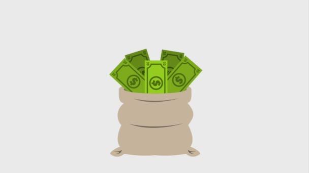 pytel plný peněz bankovky a mince spadající pod ikonu