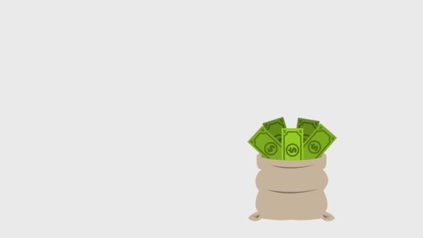 pytel plný peněz a účty spadající pod