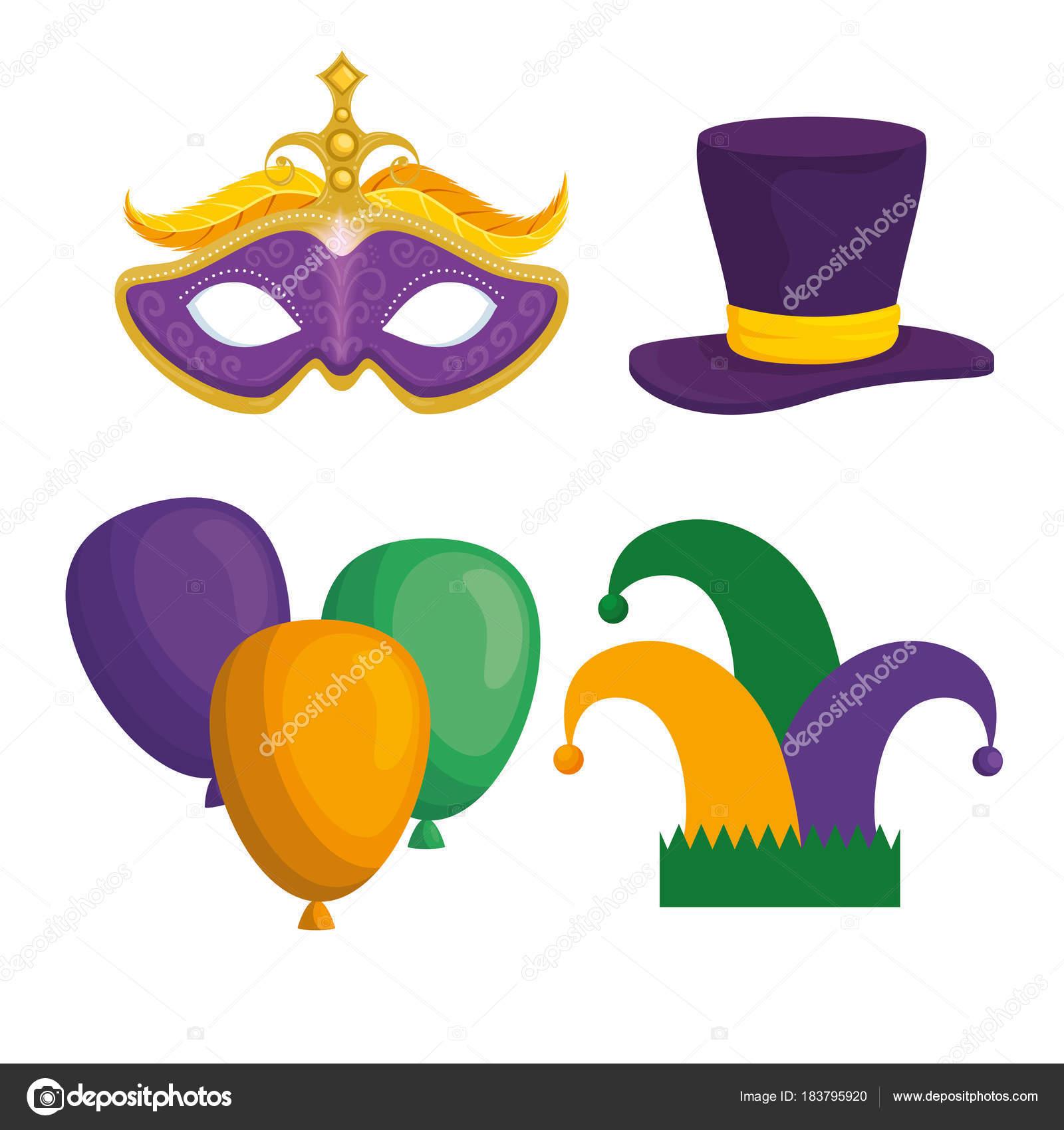 Mardi Gras Carnival Elements Stock Vector Yupiramos 183795920