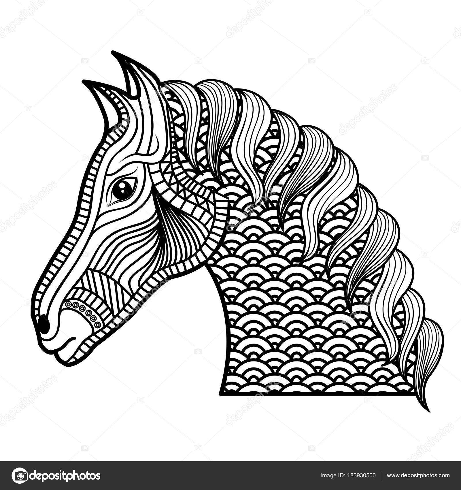 adulto para colorear dibujo de caballos monocromo — Vector de stock ...