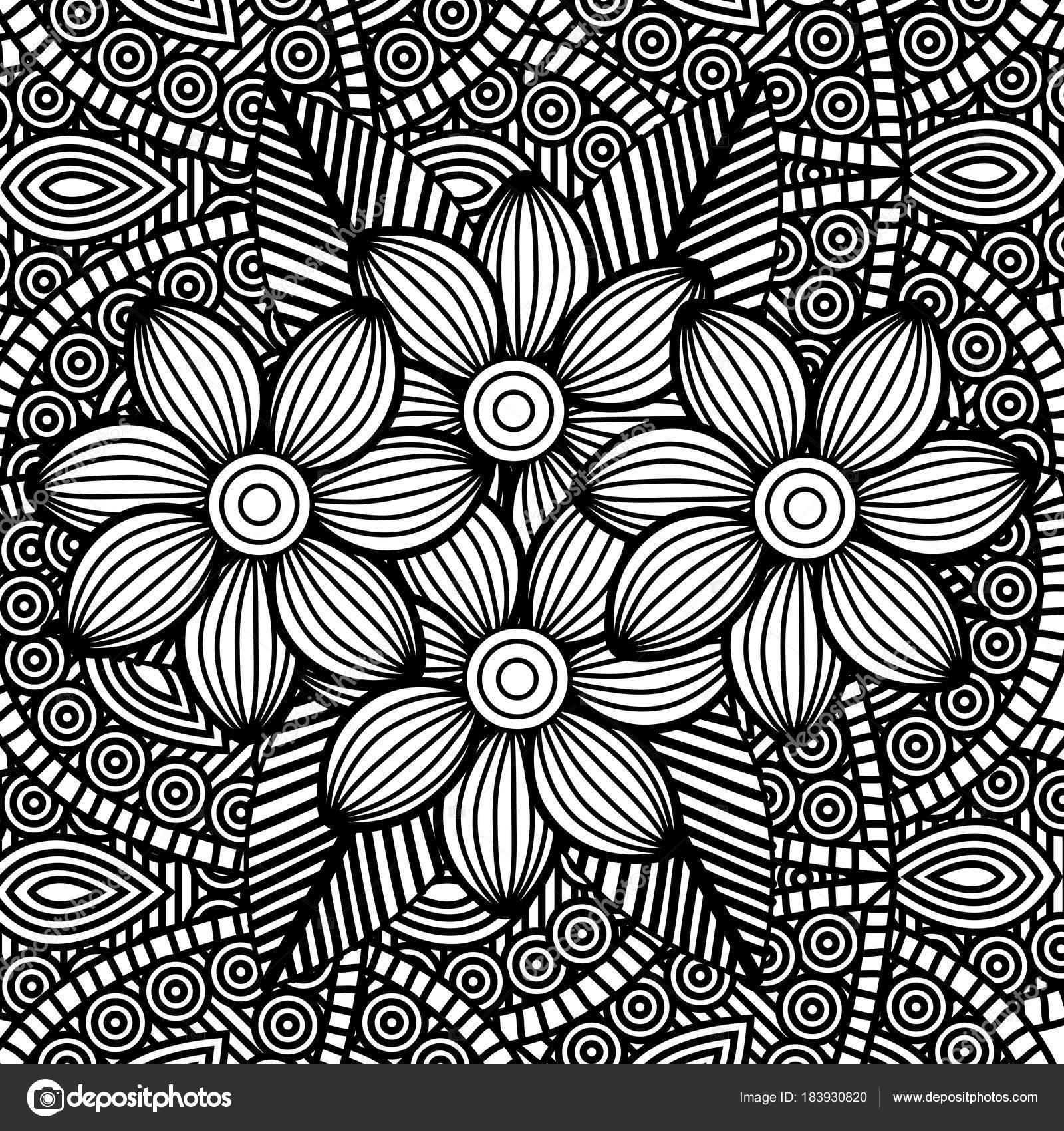 Dibujos Flores Geometricas Adulto Para Colorear Monocromos Flores