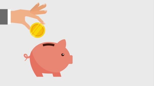 hand putting money into piggy bank icons  u2014 stock video