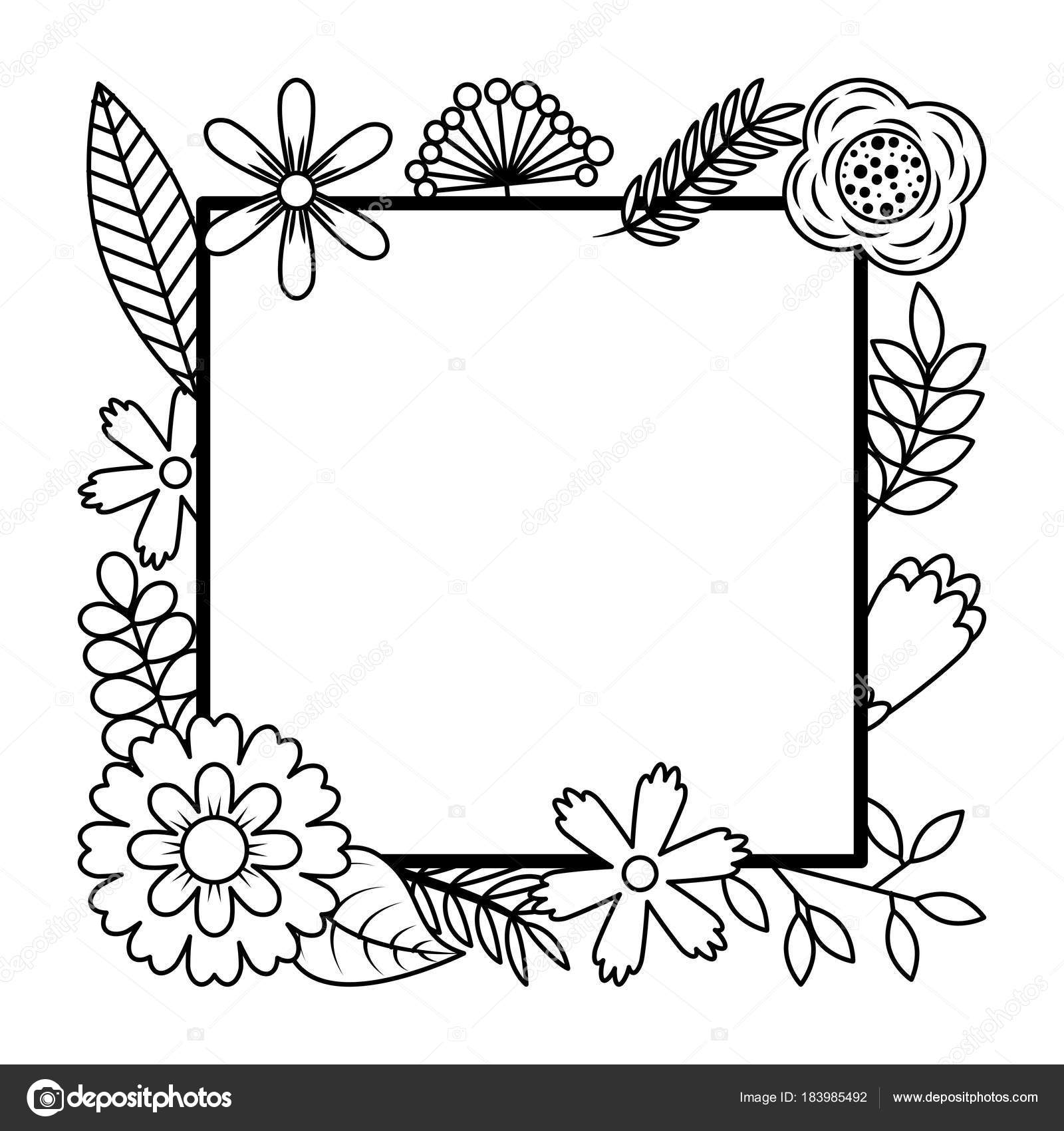 frame from wild flowers greeting card template design stock vector