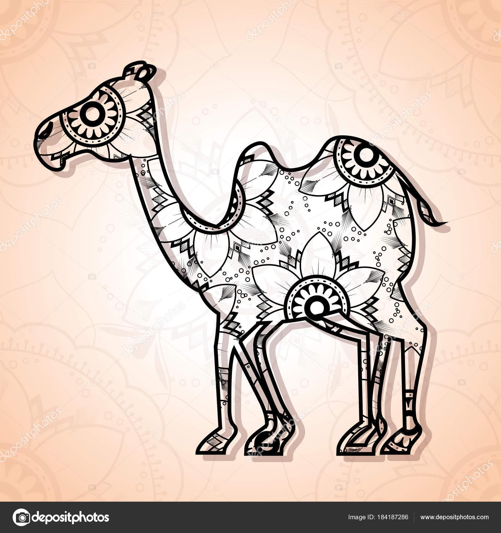 estilo boho de camello mandala — Vector de stock © yupiramos #184187286