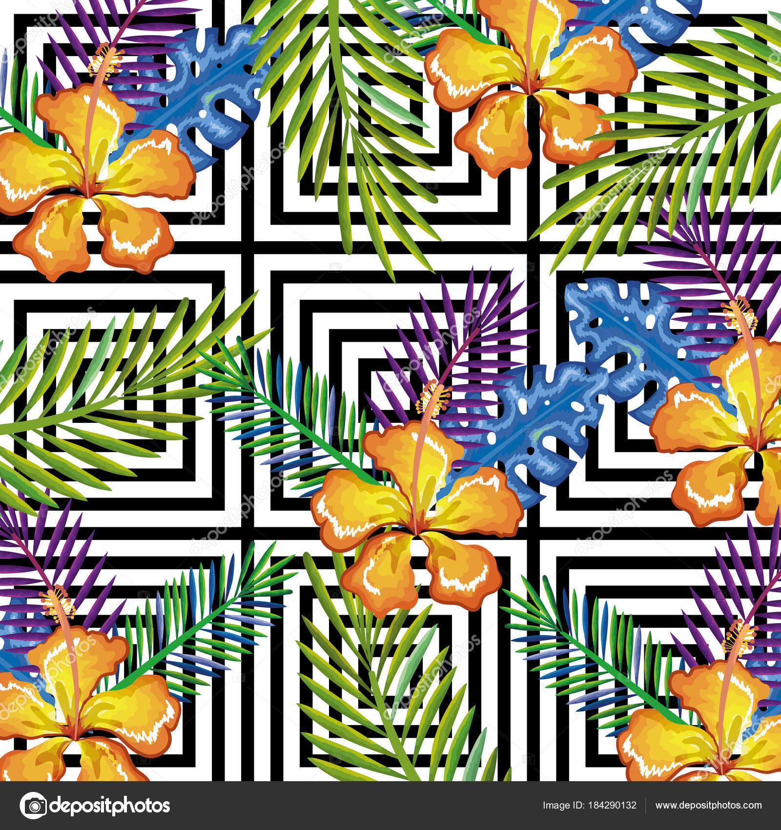 Immagini Tropicali Desktop Fiore Tropicale Con Icona Isolata Di