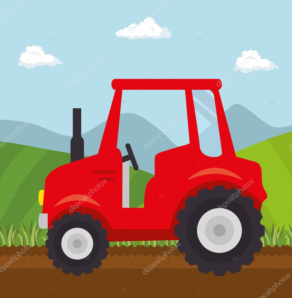 Red tractor design